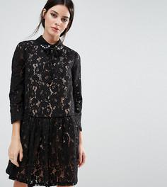 Кружевное платье-премиум с присборенной юбкой и отделкой ASOS PETITE - Черный