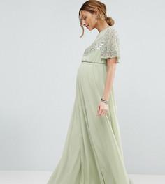 Платье макси с рукавами-бабочками и декоративной отделкой ASOS Maternity - Зеленый