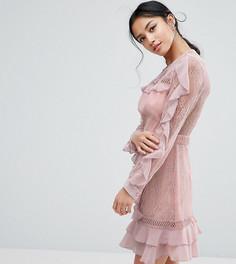 Кружевное платье с длинными рукавами и оборками True Decadence Petite - Розовый