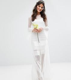 Плиссированное свадебное платье макси с расклешенными манжетами Bodyfrock - Белый