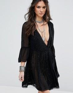 Декорированное платье для вечеринок Free People Winter Solstice - Черный