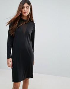 Сетчатое платье с V-образным вырезом и длинными рукавами Pieces Hane - Черный
