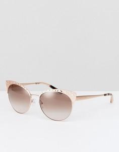 Солнцезащитные очки кошачий глаз в металлической оправе с цветочной отделкой Michael Kors - Золотой
