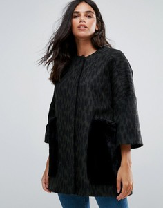 Пальто-кимоно из ткани с добавлением шерсти с карманами из искусственного меха Helene Berman - Зеленый
