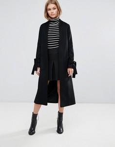 Длинное легкое пальто с поясом без застежек из ткани с добавлением шерсти Helene Berman - Черный