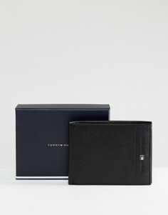 Черный кожаный бумажник Tommy Hilfiger - Черный