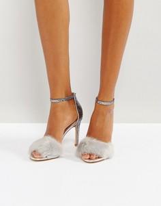 Сандалии на каблуке с искусственным мехом ALDO Fiolla - Серебряный