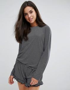 Пижама в полоску с оборками Chelsea Peers - Темно-синий