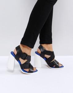 Кожаные премиум-босоножки на каблуке ASOS WHITE TULIPA - Черный