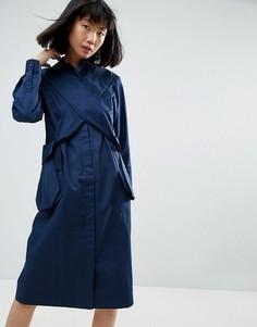 Платье А-силуэта с карманами и перекрестной отделкой ASOS WHITE - Темно-синий