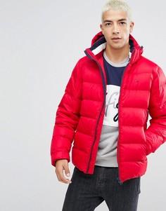 Пуховая дутая куртка красного цвета со съемным капюшоном Tommy Hilfiger Denim - Красный