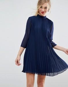 Плиссированное платье-трапеция мини ASOS - Синий