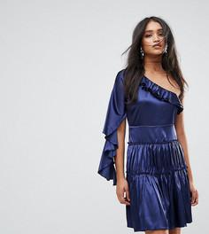 Платье мини на одно плечо с оборками Lioness - Темно-синий