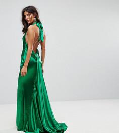 Платье макси с американской проймой, юбкой-годе и открытой спиной Jarlo - Зеленый