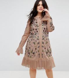 Короткое приталенное платье с декоративной отделкой Frock And Frill Plus - Бежевый
