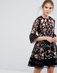 Платье мини с вышивкой Frock and Frill Premium - Черный