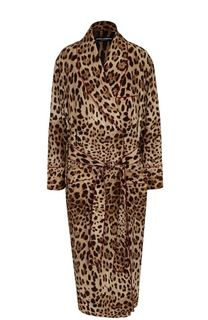 Шелковое пальто с леопардовым принтом и поясом Dolce & Gabbana