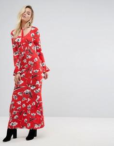 Чайное платье макси с завязкой и цветочным принтом ASOS - Мульти