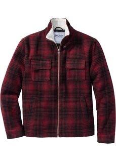 Куртка Regular Fit с воротником из искусственного меха (красный в клетку) Bonprix