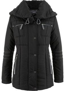 Стеганая куртка с большим воротником (черный) Bonprix