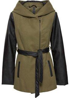 Куртка с вставками из искусственной кожи (зеленый хаки/черный) Bonprix