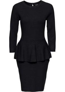 Вязаное платье с баской (черный) Bonprix