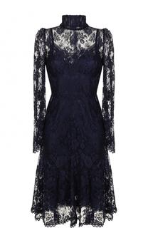 Кружевное платье-миди с воротником-стойкой Dolce & Gabbana