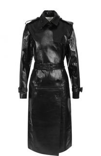 Двубортное кожаное пальто с поясом Valentino