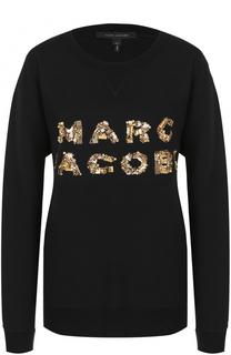 Хлопковый свитшот с контрастной вышивкой пайетками Marc Jacobs