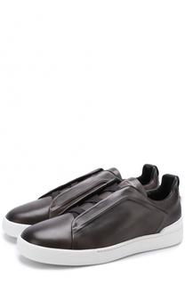 Кожаные кеды без шнуровки Zegna Couture