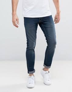 Темно-синие эластичные джинсы слим Solid - Синий !Solid