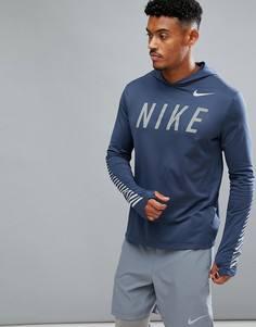 Худи темно-синего цвета Nike Running Flash Miler 858077-471 - Темно-синий