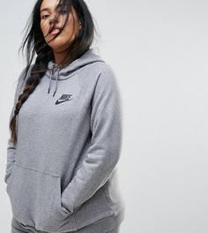 Худи серого цвета без застежки Nike Plus Rally - Серый