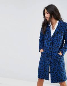 Пальто с леопардовым принтом из ткани с добавлением шерсти Helene Berman - Синий