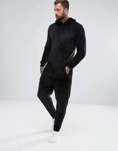 Флисовый комбинезон с капюшоном ASOS - Черный