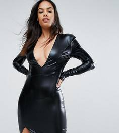 Платье мини с V-образным вырезом и подплечниками Club L - Черный