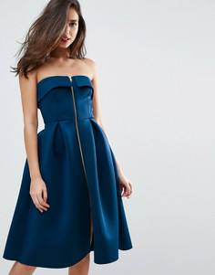 Платье миди для выпускного на молнии ASOS - Зеленый