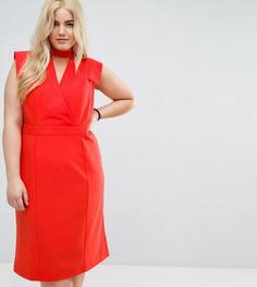 Офисное платье с чокером и декоративными швами ASOS CURVE - Красный