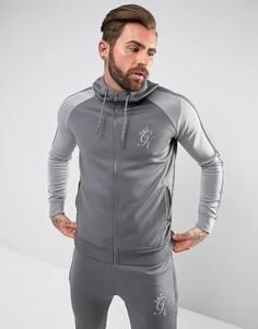 Серый спортивный худи со светоотражающим логотипом Gym King - Серый