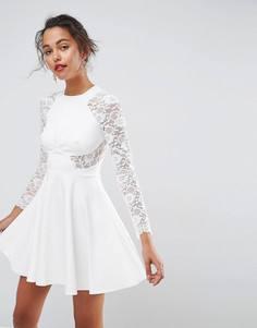 8479ce2b8f4 Короткое приталенное платье с кружевными рукавами ASOS Premium - Белый