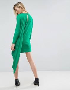 Платье-футболка с кейпом на спине ASOS - Зеленый