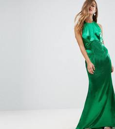 Платье макси с американской проймой, юбкой годе и открытой спиной Jarlo Petite - Зеленый
