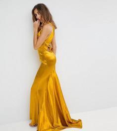 Платье макси с американской проймой, юбкой-годе и открытой спиной Jarlo Tall - Оранжевый