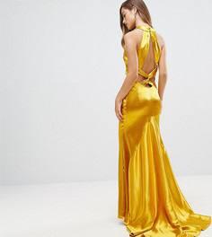 Платье макси с американской проймой, юбкой годе и открытой спиной Jarlo Petite - Оранжевый