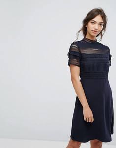 Короткое приталенное платье с кружевом Vila - Темно-синий
