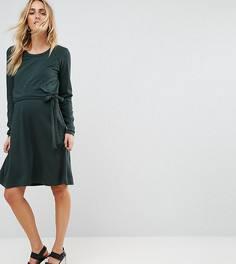 Трикотажное платье для кормящих мам Mamalicious - Зеленый Mama.Licious