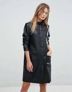 Кожаное платье Selected - Черный