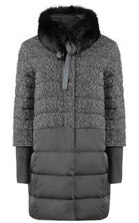 фактурное пальто с отделкой мехом песца La Reine Blanche