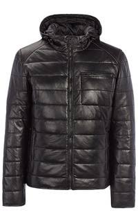 Мужская кожаная куртка на синтепоне с капюшоном Urban Fashion For Men