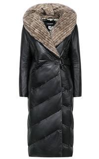 Зимнее пальто из натуральной кожи с отделкой мехом норки La Reine Blanche